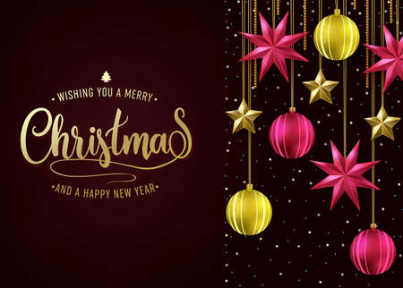 Dark Red Background Christmas Holiday Greeting Card with Wishing You A Merry Christmas and A Happy New Year Message and Hanging Stars with Christmas Balls. Vector Illustration Illustration