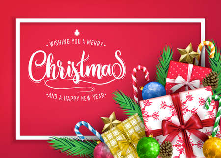 Front View Christmas Holiday Banner Design with Wishing You A Merry Christmas and A Happy New Year Message Typography inside the White Frame with Gifts, Balls, Stars, Candy Cane and Pine Cone in Red B