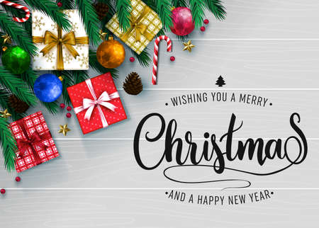 Top View Realistic Holiday Greeting Card with Christmas Elements Like Gift Pine Cone, Balls, Stars and Wishing You A Merry Christmas and Happy New Year Typography Message with in Gray Color Wooden Background. Vector Illustration Illustration