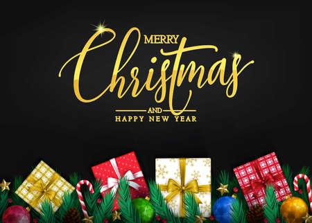 Elegant  Gold Color Greeting Message of Merry Christmas and Happy New Year Typography with Realistic Christmas Elements Like Gifts,  Pine Cones, Fir Twigs, Christmas Balls and Different Colors of Cand