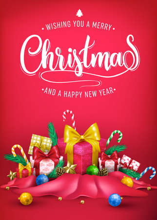 Christmas Creative 3D Realistic Poster Design with Wishing You A Merry Christmas and A Happy New Year Message and Other Elements in Red Cloth for Holiday Season in Red Background. Vector Illustration Illustration