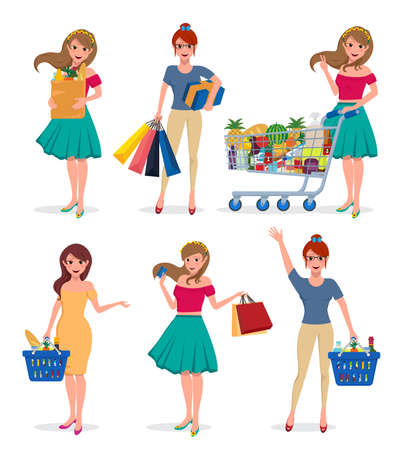Female shopping vector characters set. Girl shopper holding shopping bags, supermarket groceries and mall cart with different pose isolated in white. Vector illustration. Ilustracje wektorowe