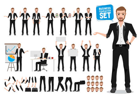 Male business vector character set. Business man cartoon character creation talking with different standing pose and hand gestures while holding white board for presentation. Vector illustration.