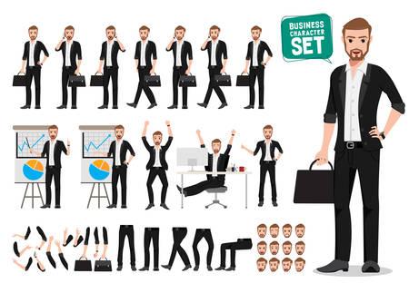 Conjunto de caracteres de vector de hombre de negocios. Creación de personaje de dibujos animados de persona de oficina masculina con diferentes poses y gestos sosteniendo el bolso o maletín y hablando para presentación de negocios Ilustración de vector. Ilustración de vector