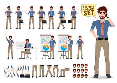 Conjunto de creación de personajes vectoriales de empresario. Personaje de dibujos animados de negocios masculino sosteniendo el teléfono móvil y hablando con diferentes poses y gestos de la mano para la presentación del negocio. Ilustración de vector.