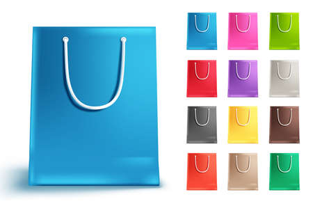 Shopping bags vector set isolated in white. Colorful paper bag collection with blue and other colors for shopping and market design elements. Vector illustration.