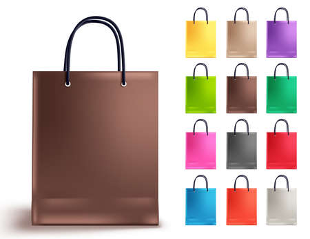 Shopping bag vector set. Empty paper bags collection with brown and other colors isolated in white for fashion and shopping design elements. Vector illustration.