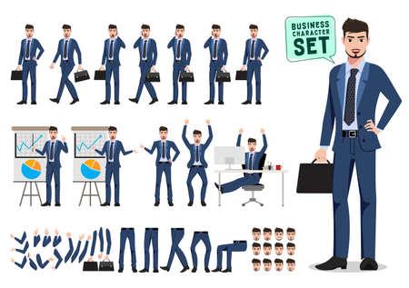 Conjunto de vectores de caracteres de negocios masculinos. Conjunto de creación de personajes de dibujos animados de hombre de negocios sosteniendo maletín y hablando con diferentes poses para presentación aislado en blanco. Ilustración vectorial. Ilustración de vector