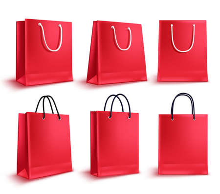 Shopping bags vector set. Red sale empty paper bags collection for fashion shopping design elements isolated in white. Vector illustration.