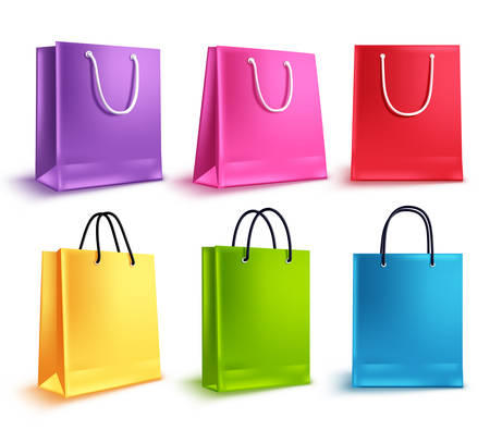 Shopping bags vector set. Colorful empty paper bag collection for store shopping and promotional design elements isolated in white. Vector illustration.