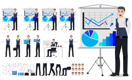 Business man vector character creation set with male sales person showing chart board presentation in different posture and hand gestures isolated in white. Vector illustration.