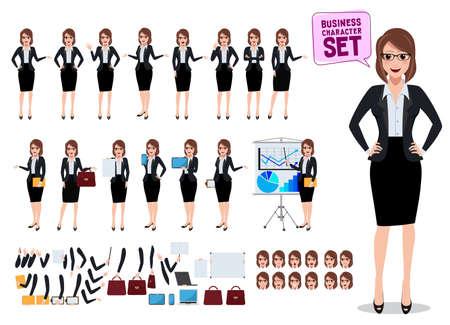 Kobiece postacie biznesowe zestaw z biurową kobietą stojącą i rozmawiającą z różnymi pozami i gestami do prezentacji biznesowych na białym tle. Ilustracja wektorowa.