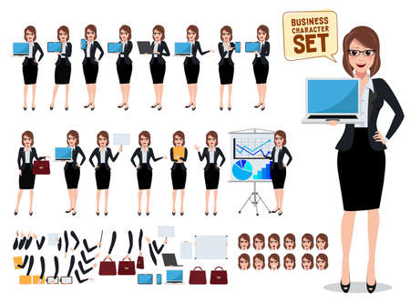 Female business characters set with office woman showing laptop screen and talking in various pose and gesture for business presentation and design elements. Vector illustration.