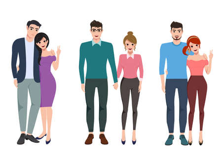 Couple vector character set. Pairs of young valentines lovers in relationship holding hands isolated in white background. Vector illustration.
