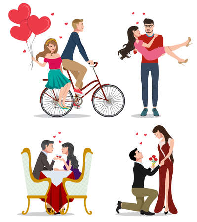 Lovers vector character set. Pairs of valentines couples in bicycle, dating and doing proposal isolated in white background. Vector illustration. Ilustração