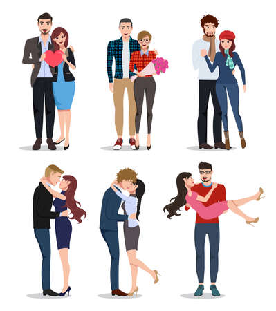 Couple vector characters set. Valentines lovers in relationship dating, holding hands and kissing isolated in white background. Vector illustration. 向量圖像