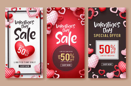 Valentines day sale vector poster template set. Valentines day sale text with hearts elements in red and white backgrounds for marketing discount promotions. Vector illustration.