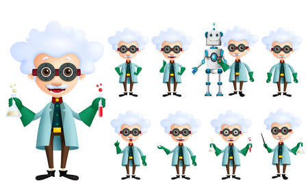 Scientist vector character set. Old genius male inventor holding test tube with various gestures, posses and inventions isolated in white. Vector illustration. Standard-Bild - 117904307
