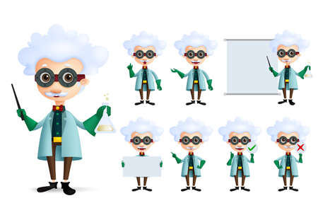 Scientist character vector set. Genius chemist professor teaching and experimenting different formula and inventions in empty whiteboard isolated in white. Vector Illustration. Ilustração