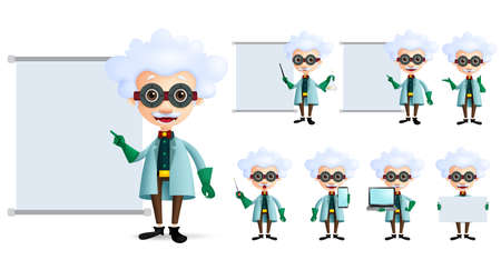 Genius scientist vector character set. Old inventor or professor teaching or showing formula and laboratory lesson in empty white board and screen isolated in white. Vector illustration. Imagens - 117904309