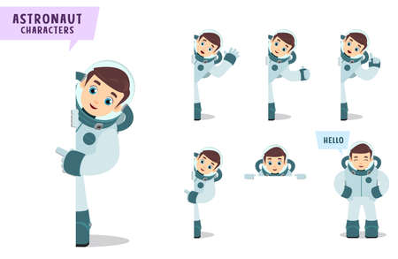 Astronauts vector character set. Spaceman cartoon character talking and showing empty white board with space for text for astronomy and science presentation. Vector illustration.