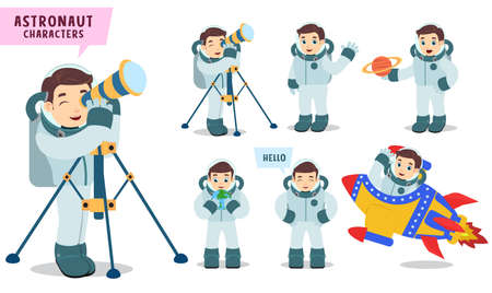Astronaut characters vector set Spaceman kid holding telescope and preparing for outer space exploration isolated in white background. Vector illustration.