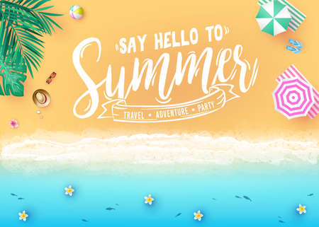 Say Hello to Summer Message in Sea Side Beach Resort Design Top View Creative Banner with Palm Trees, Tropical Leaves, Umbrellas, Ball and Fish at the Seashore. Vector Illustration 向量圖像