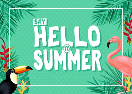 Topical Summer Banner Design with Say Hello to Summer Message in Green Color with Polka Dots Patterned Background with Palm Tree Leaves, Toucan and Flamingo. Vector Illustration Иллюстрация