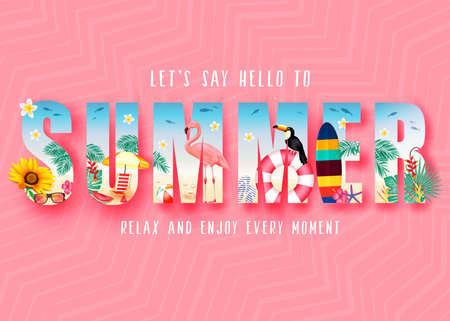 Summer 3D Realistic Stylish Modern Design Banner in Pink Patterned Background with Clipped Tropical Elements like Palm Trees, Sunflower, Beach Ball, Toucan, Flamingo, Umbrella and Bench. Vector Illustration