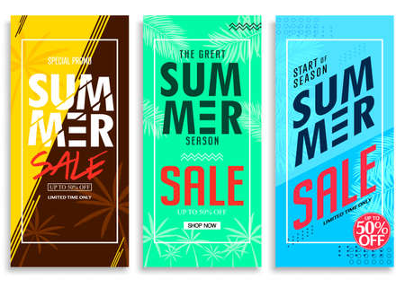 Summer Sale Up to 50% Off Colorful Bright Vivid Color Background, Fresh Stylish Decorative Patterned Vertical Pull Up Banner Set Vector Design Template. For Promotional Purposes
