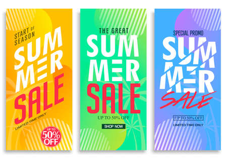 Summer Sale Vertical Pull Up Banner Set with Bright Vivid Gradient Background, Patterns, Stylish Texts and Up to 50% Off Creative Vector Design Template. For Promotional Purposes