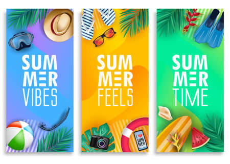Colorful Summer Vertical Banner Set with Bright Vivid Gradient Background and Tropical Elements Like Palm Leaves, Surfboard, Scuba Diving Equipments, Beach Ball, Slippers and Sunglasses. Vector Illustration
