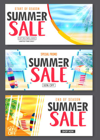 Summer Design Banner with 3D Realistic Beach Resort and Seashore Seascape View with Palm Leaves, Umbrella, Surfboard, Bench, Sunglasses and Beach Ball. For Promotional Purposes
