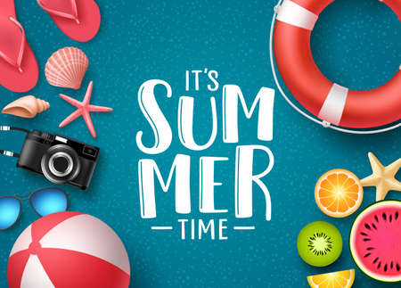 Its summer time vector banner design with text and summer elements like beach ball, seashells and fruits in blue textured background. Vector illustration.
