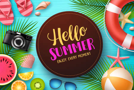 Hello summer vector design. Hello summer text with colorful beach elements like tropical fruits, palm leaves and beach ball in blue wooden texture background. Vector illustration. Illustration
