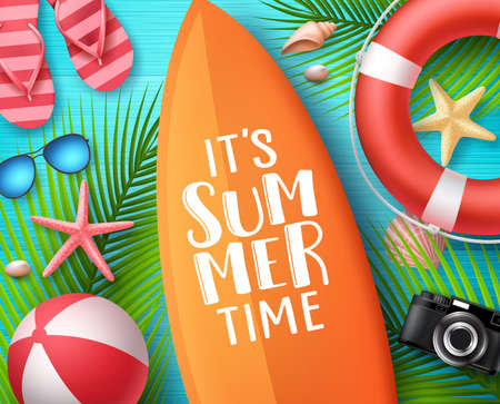It's summer time vector design concept. Summer text in surfboard with beach elements like lifebuoy, seashells and palm leaves in blue wooden textured background. Vector illustration. Illustration