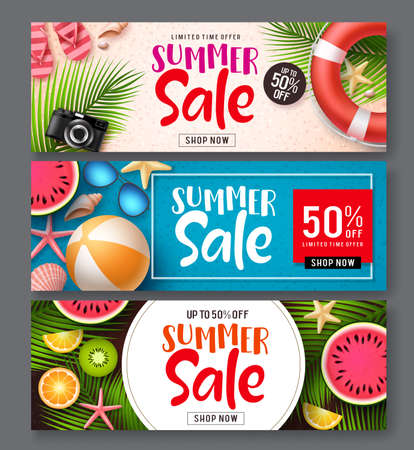 Summer sale vector banner set. Summer sale discount text in colorful backgrounds with beach elements like tropical fruits and beach ball for seasonal promotion. Vector illustration. Иллюстрация