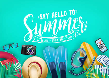 Say Hello to Summer Realistic Vector Banner Top View in Teal Color Background with and Tropical Elements Like Scuba Diving Equipment, Surf Board, Slippers, Digital Camera, Mobile Phone, Hat and Sunglasses. Vector Illustration