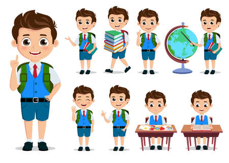 School kids student vector characters set. Back to school boy cartoon characters with school uniform talking and doing educational activities. Vector illustration.