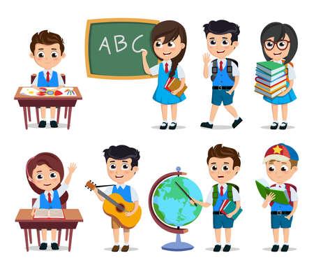 Los estudiantes de la escuela vector conjunto de caracteres. Personajes de dibujos animados de niños felices haciendo actividades educativas con uniforme escolar aislado en blanco. Ilustración de vector.
