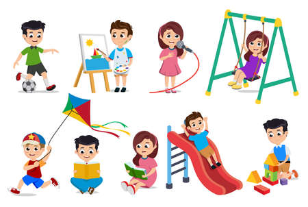 Kids playing vector characters set. Young boys and girls doing educational and school activities like playing toys, painting and reading book isolated in white. Vector illustration. Ilustração
