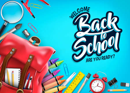 Top View Back to School In Blue Background Banner with Red Backpack and School Supplies Like Notebook, Pen, Pencil, Colors, Ruler, Magnifying Glass, Eraser, Paper Clip, Sharpener, Alarm Clock and Pain  イラスト・ベクター素材