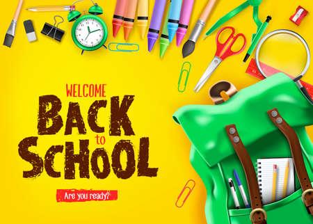 Zurück zur Schule in gelbem Hintergrund Banner mit grünem Rucksack und Schulbedarf wie Notebook, Stift, Bleistift, Farben, Lineal, Lupe, Radiergummi, Büroklammer, Spitzer, Wecker und Pinsel 3D realistisches Design. Vektorillustration