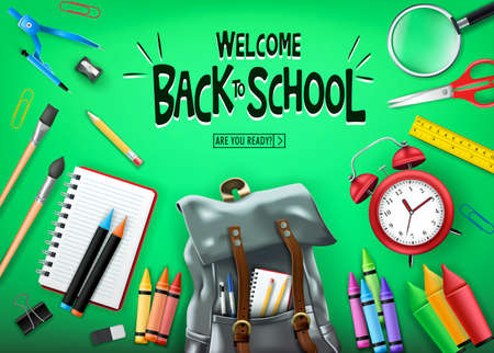 Welcome Back to School In Green Background Banner with  Black Backpack and School Supplies Like Notebook, Pen, Pencil, Colors, Ruler, Magnifying Glass, Eraser, Paper Clip, Sharpener, Alarm Clock and P
