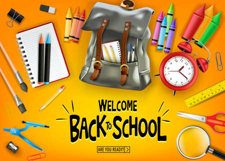 Welcome Back to School In Orange Background Banner with  Black Backpack and School Supplies Like Notebook, Pen, Pencil, Colors, Ruler, Magnifying Glass, Eraser, Paper Clip, Sharpener, Alarm Clock and