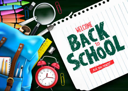 Welcome Back to School In Green Chalkboard Background Banner with Blue Backpack and School Supplies Like Notebooks, Pen, Pencil, Colors, Ruler, Magnifying Glass, Eraser, Paper Clip, Sharpener, Alarm C