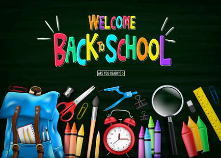Welcome Colorful Back to School Message in Green Chalkboard Top View with Blue Backpack and School Supplies Like Notebook, Pen, Pencil, Colors, Ruler, Magnifying Glass, Eraser, Paper Clip, Sharpener,