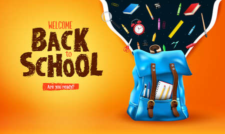 Welcome Back to School Are You Ready Lettering in Orange Gradient Mesh Background Banner with 3D Realistic Blue Backpack and School Supplies