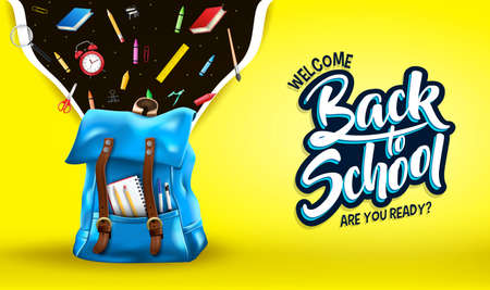 Welcome Back to School Are You Ready Message in Yellow Gradient Mesh Background Banner with 3D Realistic Blue Backpack and School Supplies