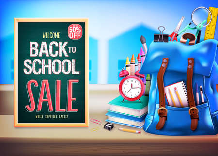 Welcome Back to School Sale Up to 50% Off in Green Chalkboard with 3D Realistic Design Blue Backpack and School Supplies